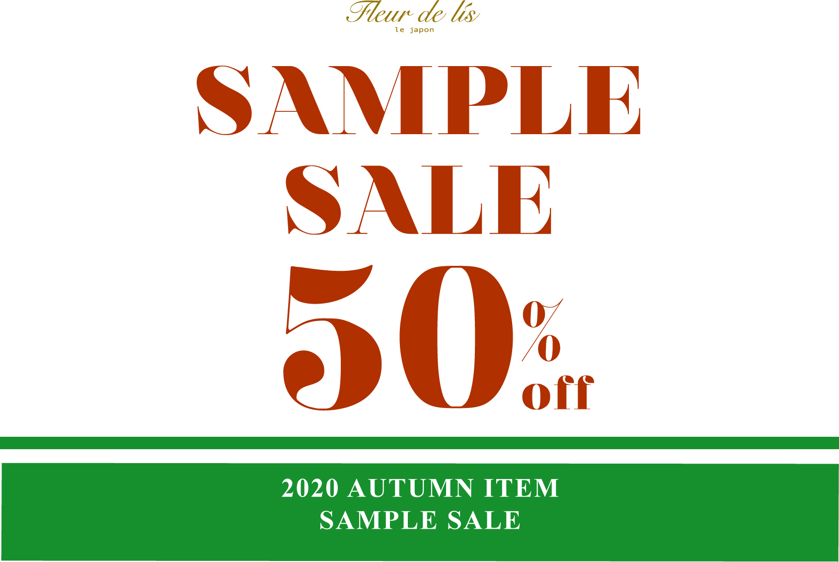 2020AUTUMN SAMPLE SALE 50%OFF